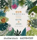 vintage wedding card. botanical ... | Shutterstock .eps vector #660984589