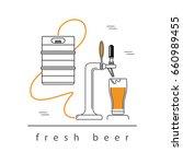 beer tap  a glass of beer ...   Shutterstock .eps vector #660989455