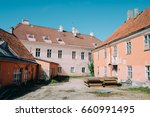 europe pink building  processed ... | Shutterstock . vector #660991495