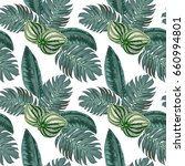 seamless exotic leaves pattern | Shutterstock .eps vector #660994801