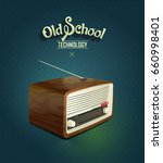 vintage radio at the dark blue... | Shutterstock .eps vector #660998401