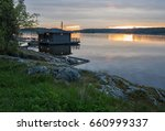 landscape with a lodge on the...   Shutterstock . vector #660999337