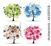 set of floral trees beautiful...   Shutterstock .eps vector #66100318
