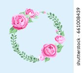 peony wreath. round frame with... | Shutterstock .eps vector #661008439