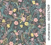 seamless pattern with a floral... | Shutterstock .eps vector #661017439