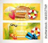 vector set of two summer... | Shutterstock .eps vector #661017769