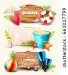 set of summer headers and... | Shutterstock .eps vector #661017799