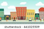 funny cartoon cityscape street... | Shutterstock .eps vector #661025509
