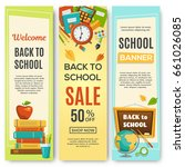 back to school  set of vertical ... | Shutterstock .eps vector #661026085