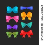 vector set of different bows | Shutterstock .eps vector #661038025