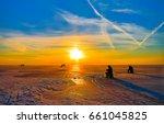Sunset Ice Fishing Winter...