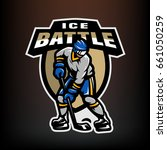 hockey player  logo  emblem on... | Shutterstock .eps vector #661050259