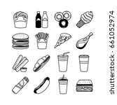 food icons and fastfood symbols.... | Shutterstock . vector #661052974