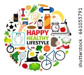 healthy lifestyle emblem.... | Shutterstock . vector #661055791