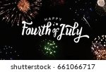 Small photo of Happy Fourth of July Typography with Fireworks in Night Sky