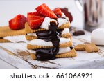 picnic dessert smores with... | Shutterstock . vector #661066921
