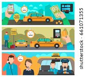 taxi banners. city taxi... | Shutterstock . vector #661071355