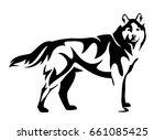 standing husky dog side view...   Shutterstock .eps vector #661085425