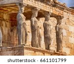 detail of caryatids statues on... | Shutterstock . vector #661101799