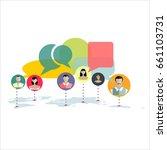 social network concept. flat... | Shutterstock . vector #661103731