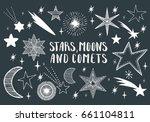 stars  moons  comets. hand... | Shutterstock .eps vector #661104811