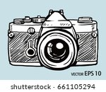 vector sketch style of retro... | Shutterstock .eps vector #661105294