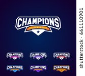 set of the champion sports... | Shutterstock .eps vector #661110901
