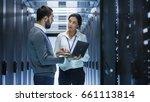 male it specialist holds laptop ...   Shutterstock . vector #661113814