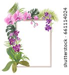 tropical rectangular frame with ... | Shutterstock .eps vector #661114024