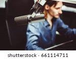 microphone in radio studio and... | Shutterstock . vector #661114711
