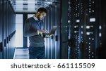 it technician works on laptop... | Shutterstock . vector #661115509