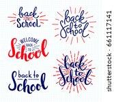 back to school. lettering on... | Shutterstock .eps vector #661117141