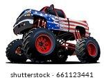 cartoon monster truck.... | Shutterstock .eps vector #661123441