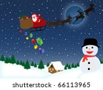 santa claus on sledge with... | Shutterstock .eps vector #66113965