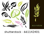 set of hand drawn leaves  green ... | Shutterstock .eps vector #661142401