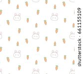 Stock vector seamless pattern of cartoon rabbit and carrot design on white background 661155109