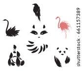 Set Of Animal. Black Swan....