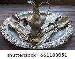 old vintage silver kitchen... | Shutterstock . vector #661183051