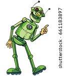 green robot tells the story | Shutterstock .eps vector #661183897