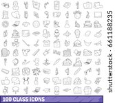 100 class icons set in outline... | Shutterstock .eps vector #661188235