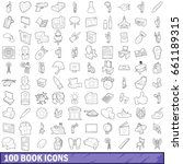 100 book icons set in outline... | Shutterstock .eps vector #661189315
