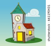 tower clock and house | Shutterstock .eps vector #661190431