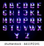 futuristic metallic alphabet in ... | Shutterstock .eps vector #661192141