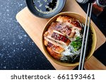 rice with teriyaki chicken... | Shutterstock . vector #661193461