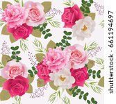 seamless floral pattern with... | Shutterstock .eps vector #661194697