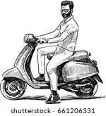 sketch of a person on a scooter | Shutterstock .eps vector #661206331