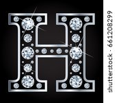 vector letter h in diamond... | Shutterstock .eps vector #661208299
