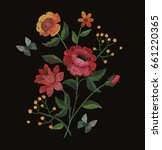 vector embroidery with flowers... | Shutterstock .eps vector #661220365