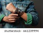 the man in jean jacket wearing...   Shutterstock . vector #661239994