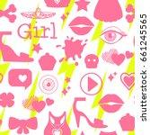 kids girl interests are symbols.... | Shutterstock .eps vector #661245565